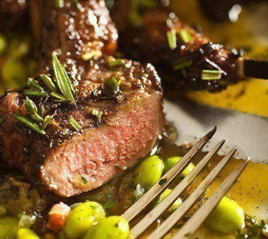 Lamb Chops with Fava Beans