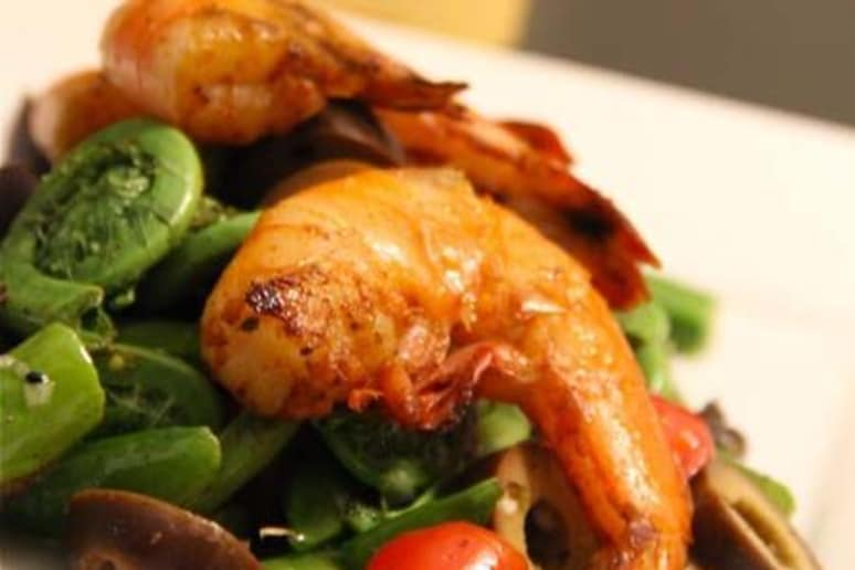 Grilled Shrimp and Fiddlehead Spring Salad