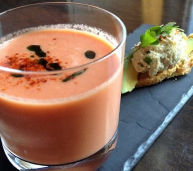 Tomato and Watermelon Gazpacho with Jumbo Lump Crab Salad