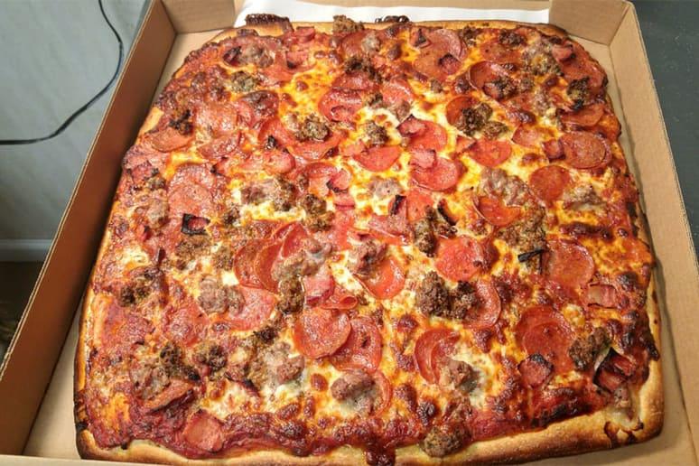 #64 Santillo's Brick Oven Pizza, Elizabeth, N.J. (Sicilian: pepperoni, mozzarella, pizza sauce)