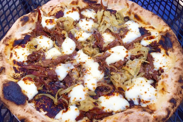 #98 Proof, Miami (Oxtail Pizza: black garlic, caramelized onions, thyme, mozzarella)
