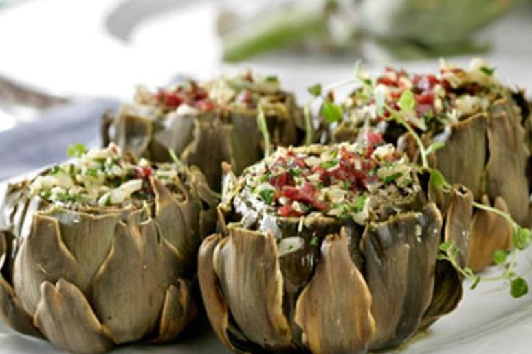 Stuffed Artichoke Bottoms with Black Bean Salsa