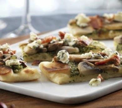 Blue Cheese, Pesto, and Mushroom Appetizer