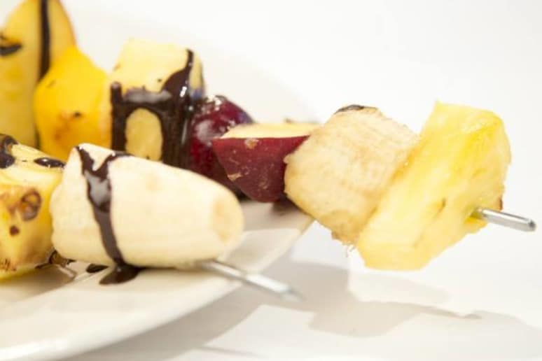 Grilled Fruit Kebabs with Chocolate, Mango, Peach, Cherry, and Banana