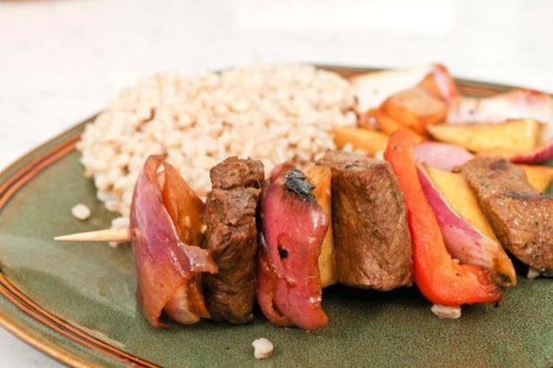 Grilled Mango and Marinated Sirloin Kebabs