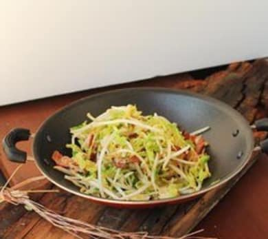 Bean Sprout cooked with Brussel sprouts and Bacon