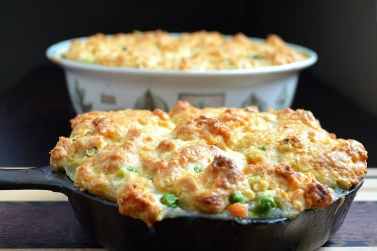Chicken Pot Pie Topped With Jalapeño & Scallion Biscuits