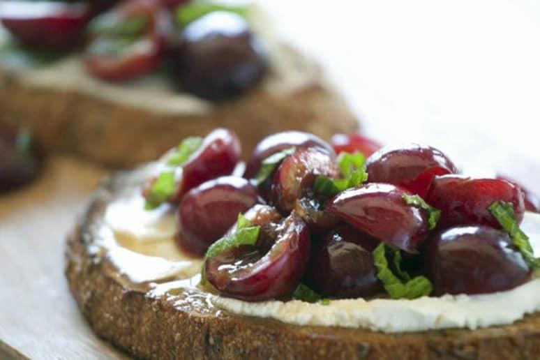 Goat Cheese Bruschetta with Cherries and Mint