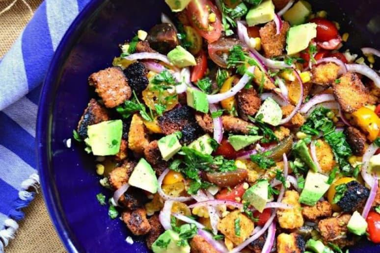 Grilled Cornbread Panzanella With Avocado