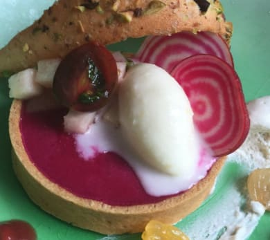 Beet Panna Cotta with Goat Cheese Frozen Yogurt and Tuile Batter