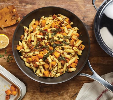 Penne with Caramelized Pumpkin, Onion, Sage and Brown Butter