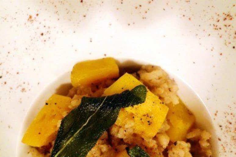 Acorn Squash Risotto with Smoked Bacon and Fried Sage Leaves