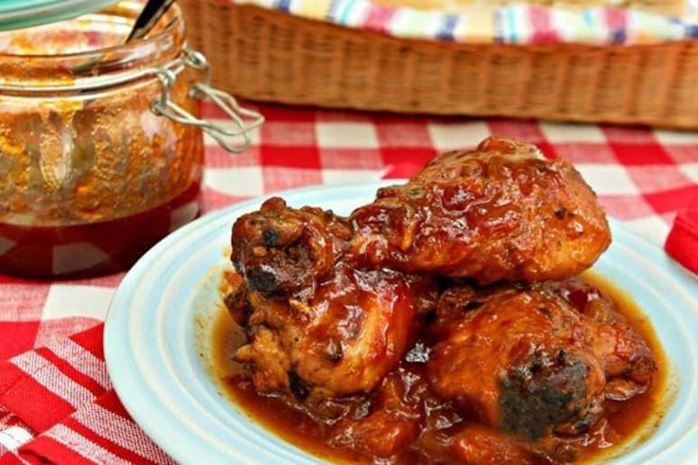 Smoked Chicken with Chipotle, Peach, and Bourbon Barbecue Sauce