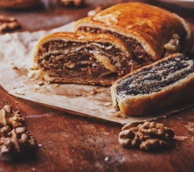 Croatian Walnut, Hazelnut, and Poppyseed Strudels