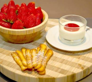 Yogurt Panna Cotta with Strawberry Coulis