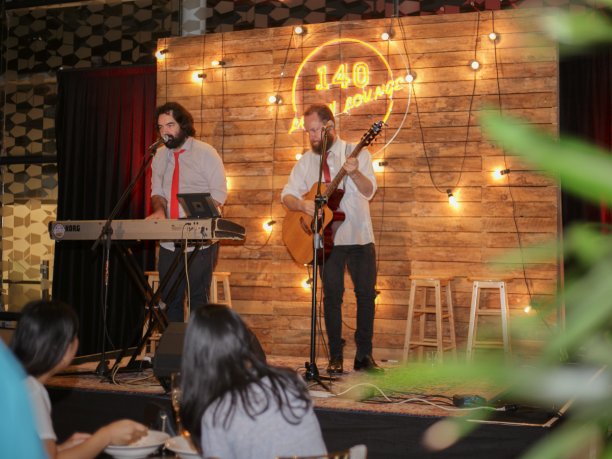 Live Entertainment with Pallet Wall Stage Backdrop