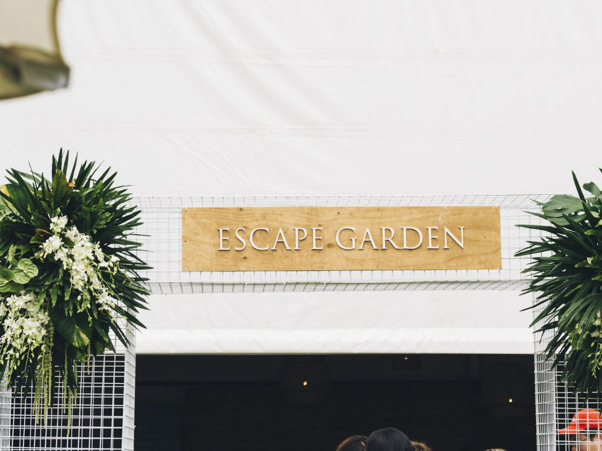 Custom 'Escape Garden' Entry Statement and Sign