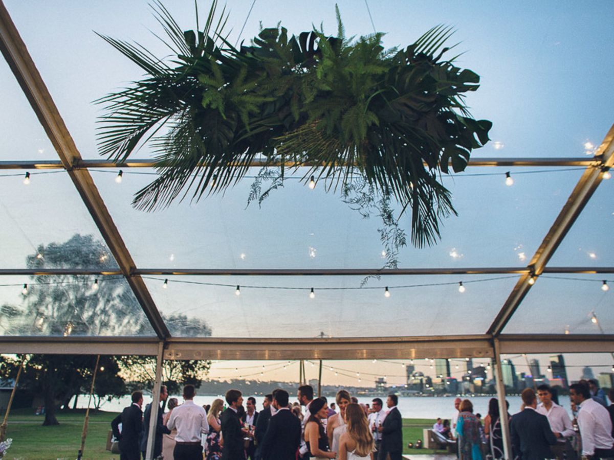 Custom Florals inside a Clear Roof Marquee