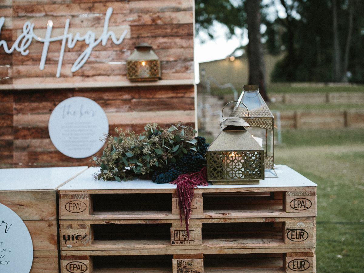 Pallet Bar with Custom Signage