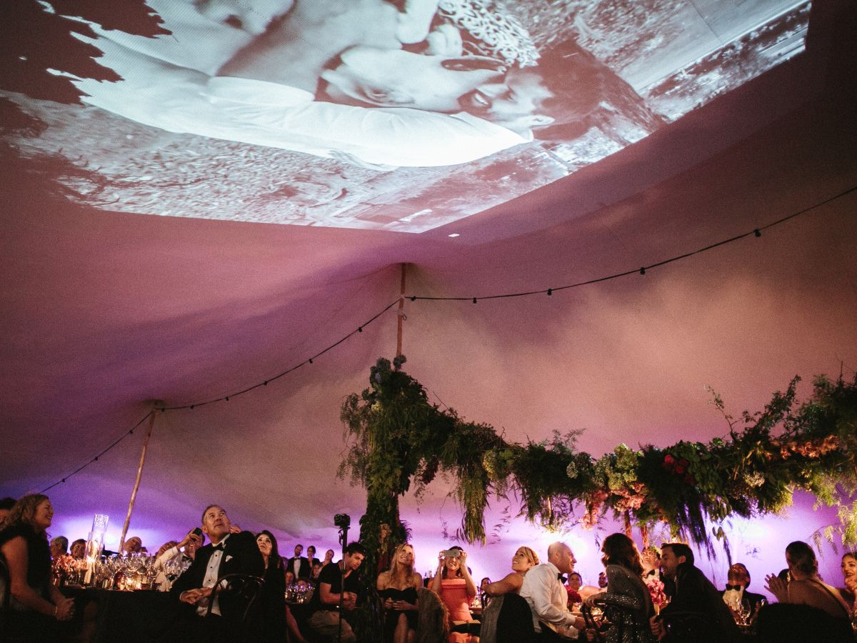Projections on a White Bedouin Stretch Tent