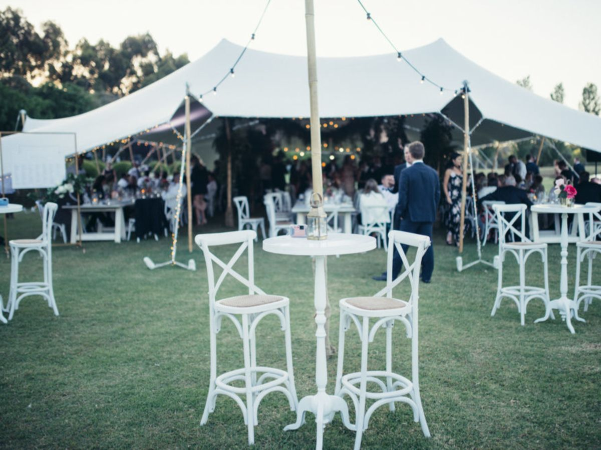 White Crossback Stools and White Bordeaux Tables