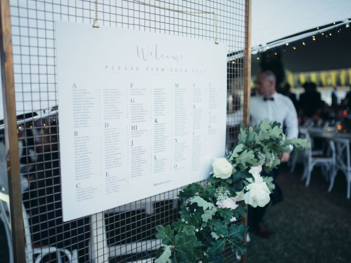 Seating Plan hung from Gold Wire Mesh Backdrop