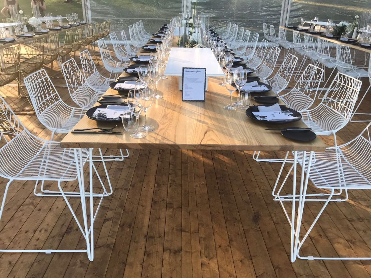 White Arrow Chairs and Hairpin Dining Tables
