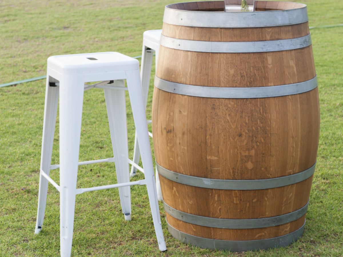 Restored Wine Barrel and Tolix Stool
