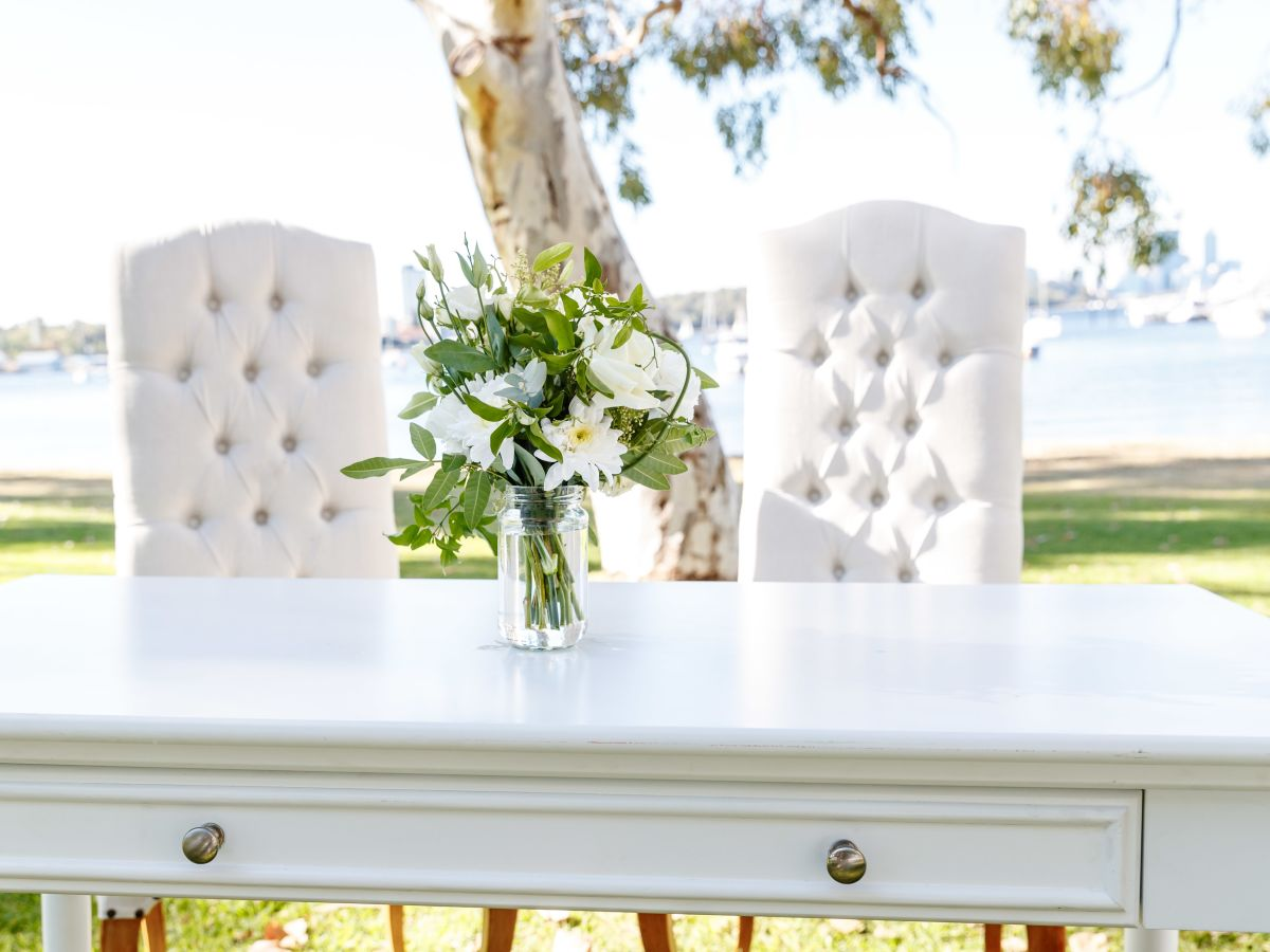 Classic White Signing Table and High Linen Louis Feature Chairs