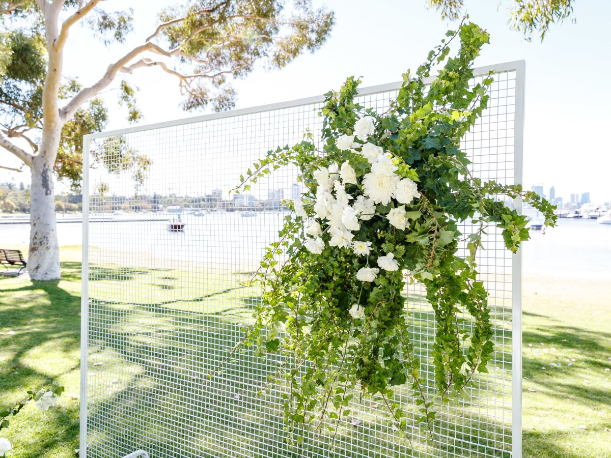 White Wire Mesh Screen with Custom Florals