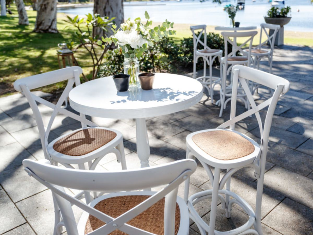 White Crossback Stools and White Bordeaux Table