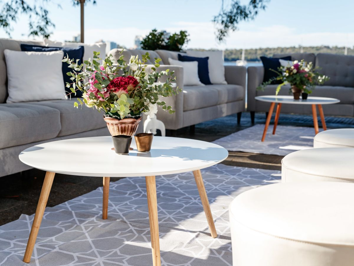 Custom Florals on White Scandi Coffee Table