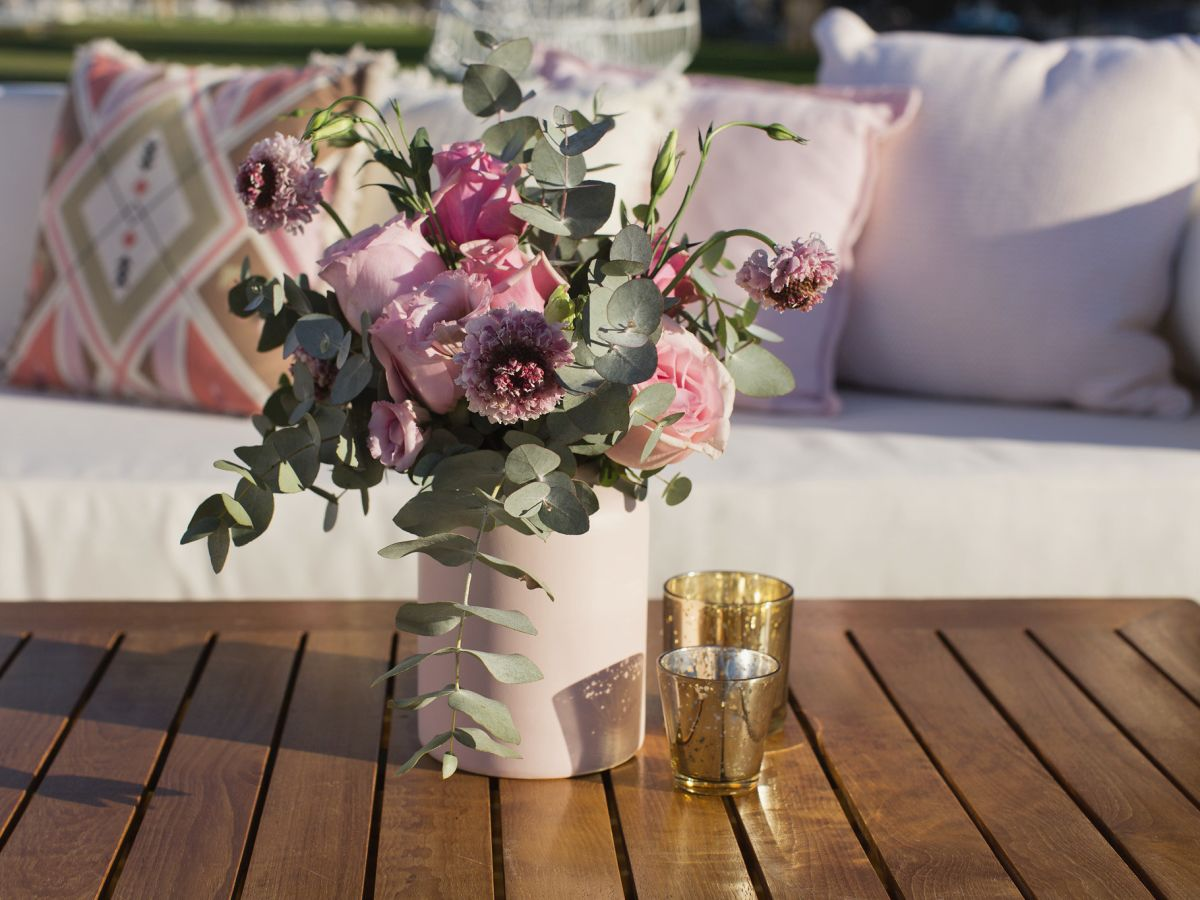 Custom Florals on Classic Rattan Coffee Table