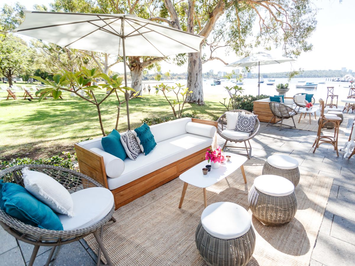 Teak Lounge Setting at Matilda Bay