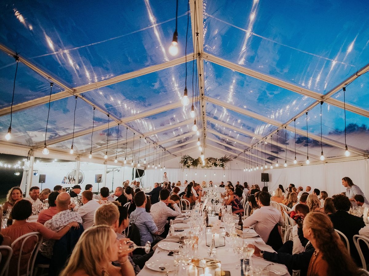 Clear marquee with dropper lighting