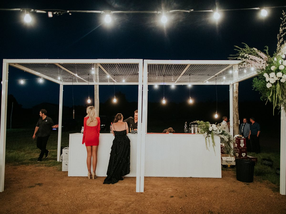 White cabana feature bar