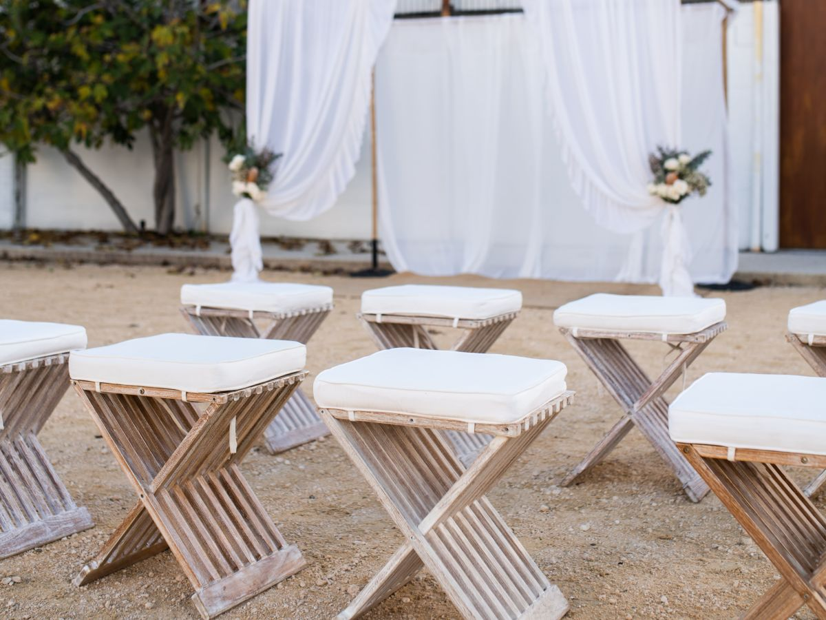 Bamboo Arbour with drapery and Hamptons Teak Stools