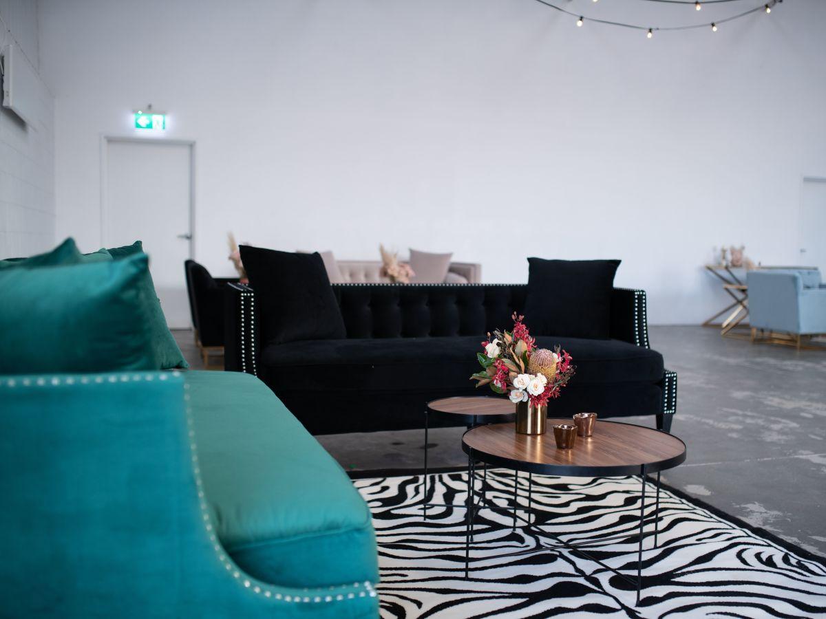 Luxe Black Velvet Lounge with Studs