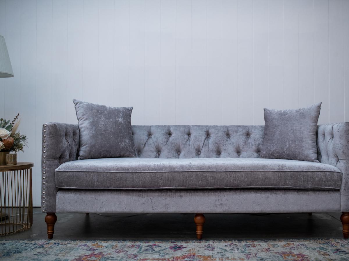 Luxe Velvet 3 Seater Lounge in Silver Snakeskin