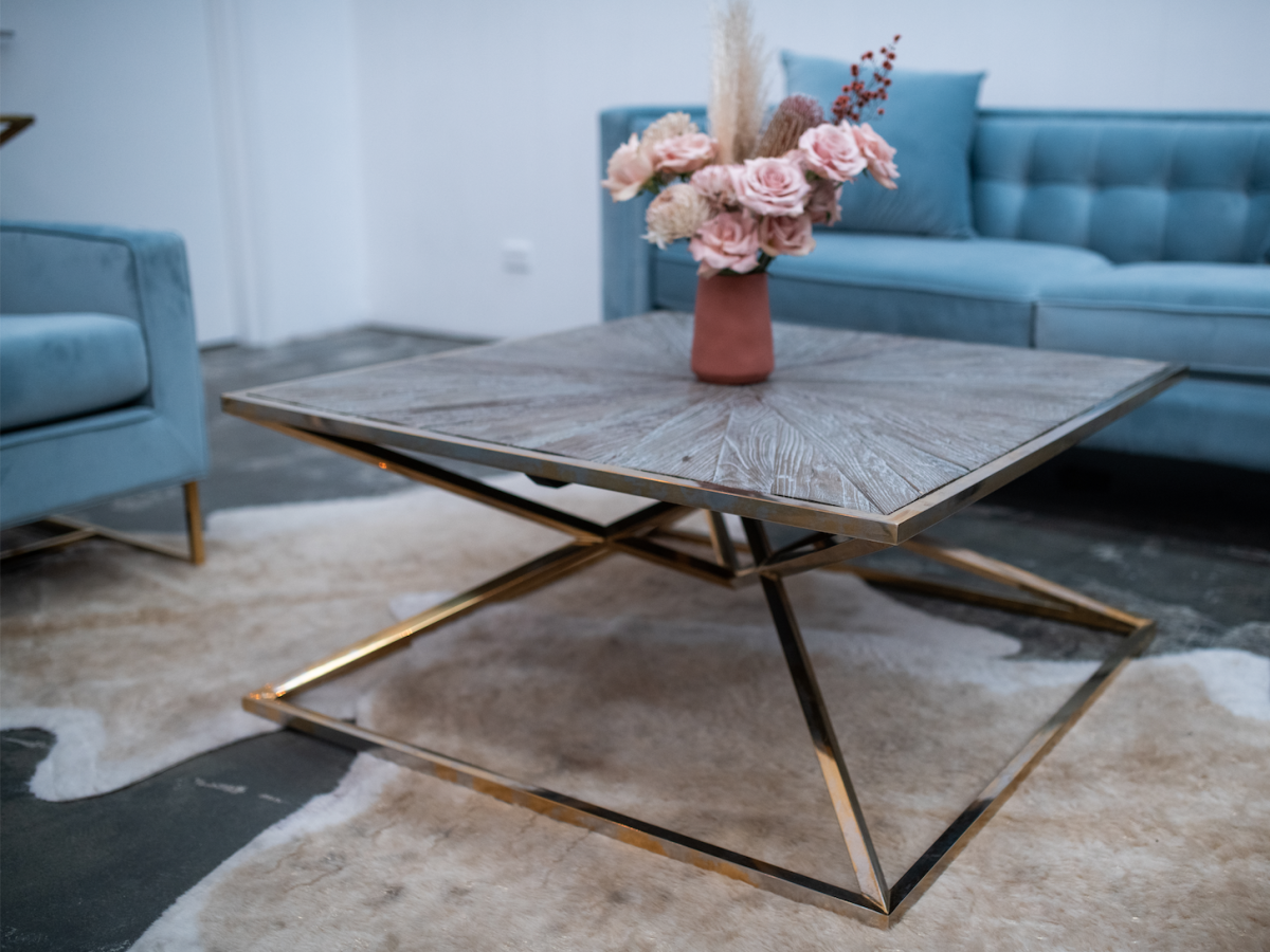 Luxe Geometric Wood and Gold Coffee Table