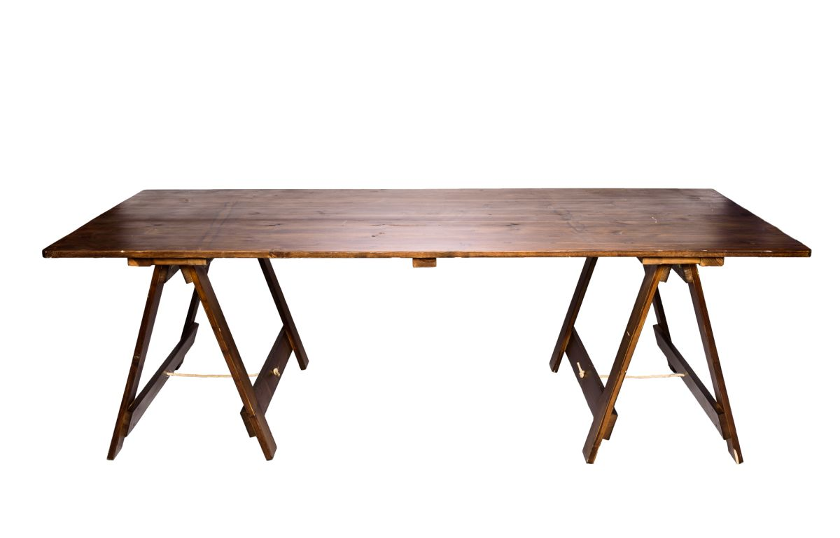 Exposed_Wooden_Banquet_Trestle_Table_-_Walnut_-_2.4mL_x_1.1mW
