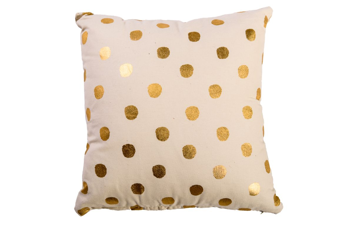 Gold_and_White_Polkadot_Cushion_40cmSQ