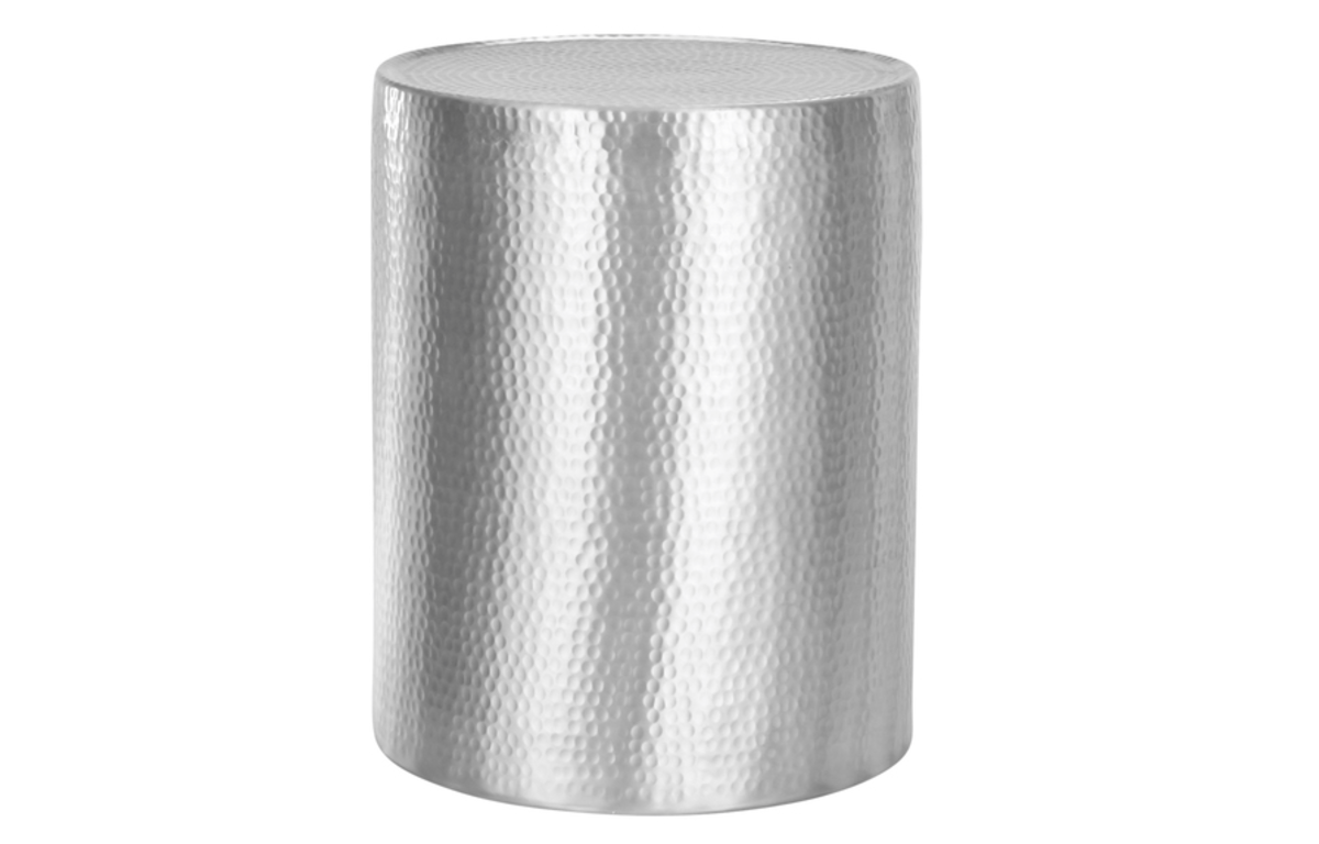 Hammered_Aluminium_Round_Side_Table_-_40cmD_x_50cmH