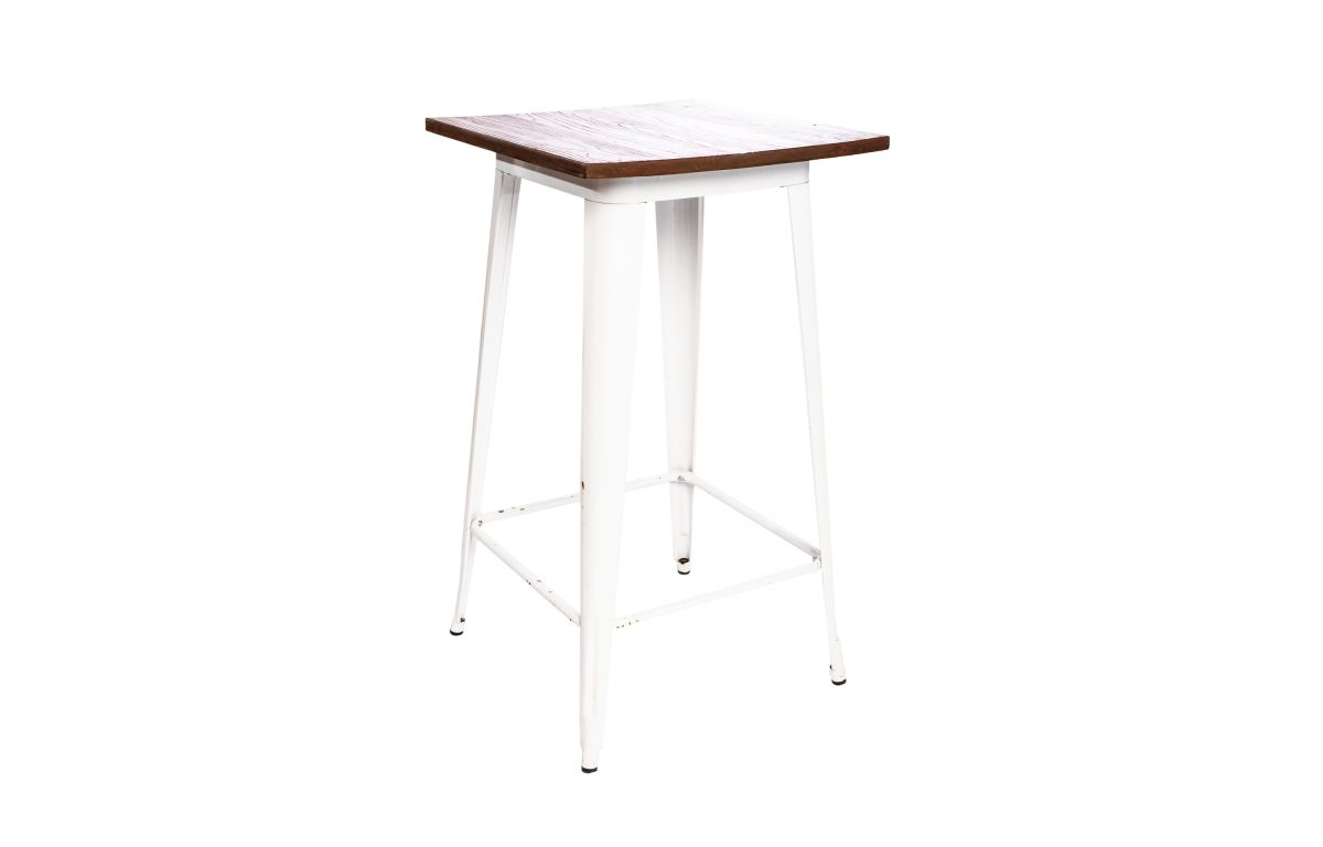 Tolix_White_Cocktail_Table_with_Wood_Top_-_60cmSQ_x_106cmH