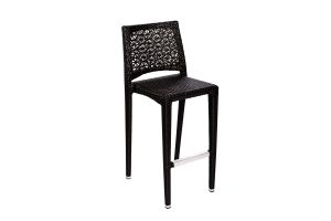 Photograph of Black Rattan High Bar Stool – 45cmW x 37cmD x 1.05mH