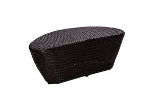 Photograph of Black Rattan Coffee Table Teardrop Small – 85cmL x 37cmW x 25cmH