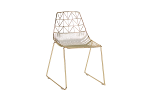 Photograph of Arrow Dining Chair Gold – 50cmW x 50cmL x 80cmH