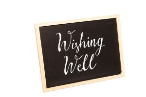 "Photograph of Chalkboard ""Wishing Well"" Sign – 30cmL x 15cmH"