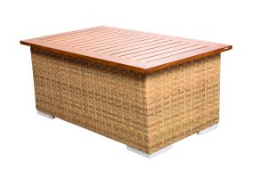 Photograph of Classic Rattan Coffee Table with Teak Top – 1mL x 60cmD x 40cmH
