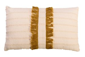 Photograph of Cream and Mustard Fringed Rectangular Cushion – 30cm x 50cm